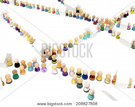 Crowd of small symbolic figures house queues crossing 3d illustration horizontal isolated over white