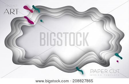Cut paper abstract background, 3D paper art frame, cut paper texture with colorful paper layers. Holiday invitation background, brochure cover template, business card, craftsmanship, banner, layout vector