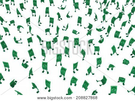 Dollar money symbol cartoon characters crowd 3d illustration horizontal isolated over white