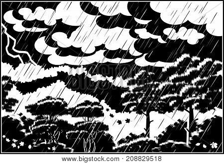 Stylized vector illustration of a thunderstorm in an autumn forest