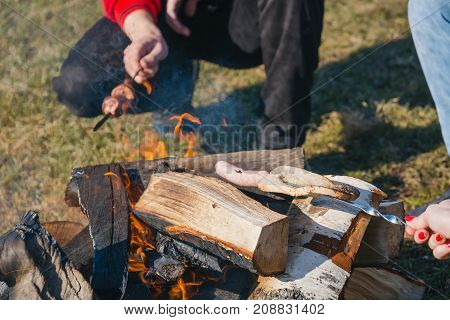 Fried Sausages At The Stake