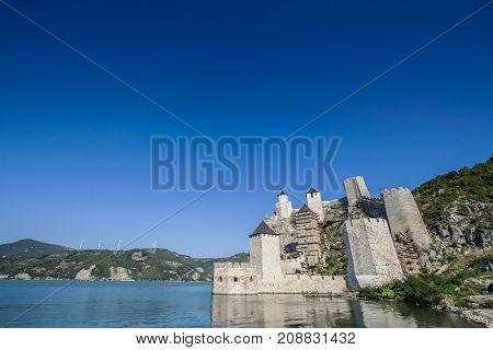 Golubac Fortress (Golubacka trvdjava or Goluback Grad) taken during a sunny afternoon. The Golubac Castle was a medieval fortified town on the Danube River 4 km downstream from the current city of Golubac