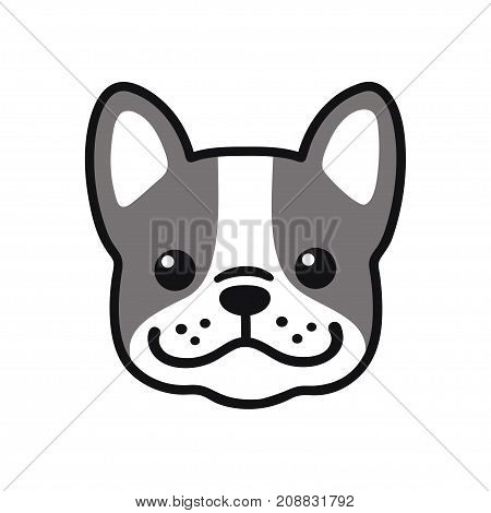 Cute cartoon French Bulldog face drawing. Adorable little dog portrait simple vector illustration. Modern icon or logo.