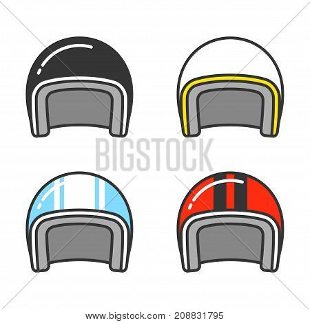 Vintage motorcycle helmet line icon set. Classic helmets in different colors isolated vector illustration.