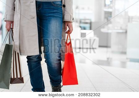 Close Up Woman Shopping At Store. Let's Go Shopping!