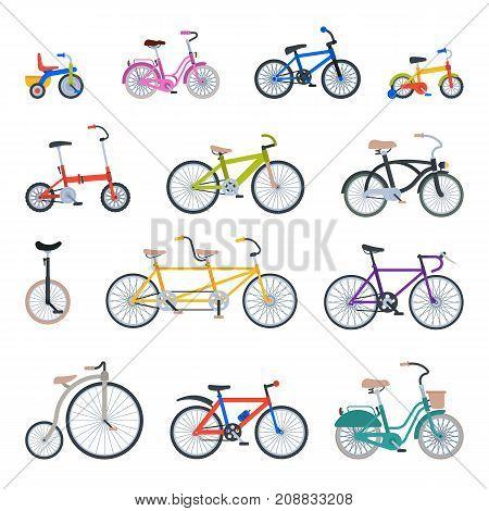 Retro bike vintage style old vector transport ride vehicle summer bicycles transportation illustration.