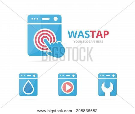 Set of laundry logo combination. Washing machine and cursor symbol or icon. Unique washer and digital logotype design template.