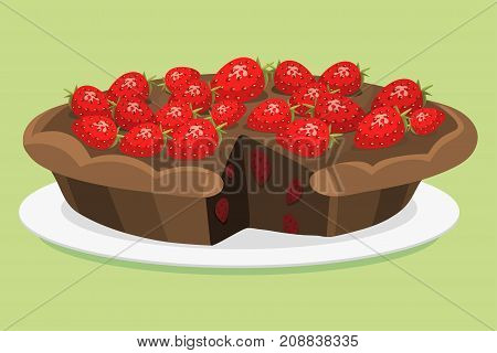 Cartoon cake fresh tasty dessert sweet pastry pie vector illustration. Gourmet homemade delicious cream traditional bakery tart.