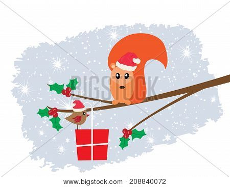 vector illustration of Christmas card with funny squirrel in Santa hat bird present