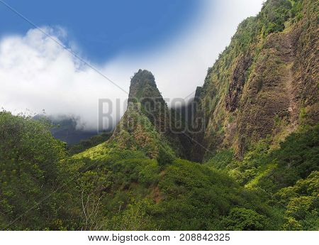 Iao needle located at scenic travel destination Maui, Hawaii.