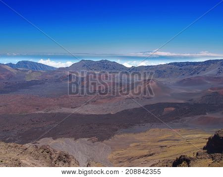 The volcanic crater at Haleakala National Park on the island of Maui, Hawaii.