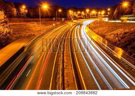 Night View Of Uk Motorway Highway Traffic