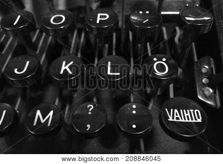 Finnish vintage typewriter including uppercase