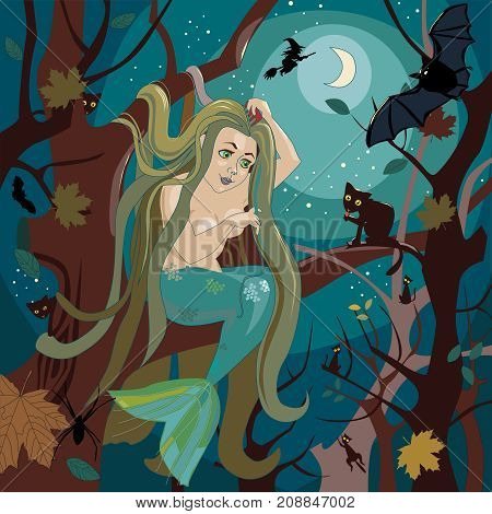 Beautiful mermaid sits on a tree branch and brushes long hair