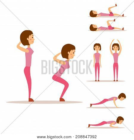 Young woman is exercising at home. Fitness character workout, healthy living and diet concept vector illustration. Sportswear attractive weight person training.