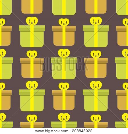Gift boxes anniversary event satin greeting seamless pattern ribbon bow paper birthday package vector illustration. Surprise elegance birthday present.