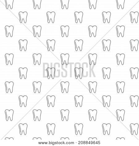 Unique tooth seamless pattern with various icons and symbols on white background flat vector illustration