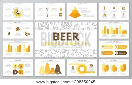 Set of beer and bar, pub elements for multipurpose presentation template slides with graphs and charts. Leaflet, corporate report, marketing, advertising, annual report, book cover design.