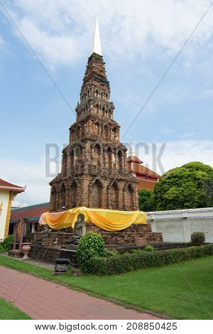 The old pagoda at wat Phra That Hariphunchai pagoda temple important religious traveling destination in northern province is the most famous temple