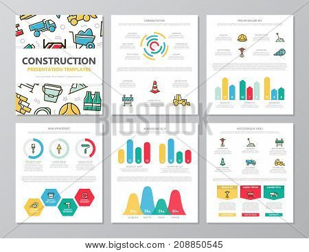 Set of colored construction and repair elements for multipurpose a4 presentation template slides with graphs and charts. Leaflet, corporate report, marketing, advertising, annual report, book cover design.