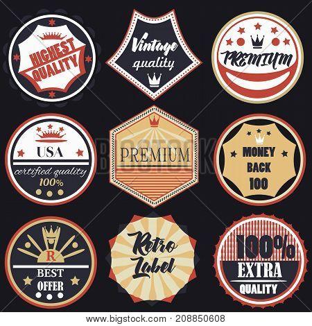 Set of vector vintage labels premium quality badges