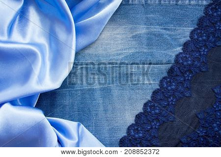 Dense Blue Denim Fabric, Smooth Sky-blue Silk And A Delicate Lace