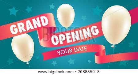 Grand opening vector illustration with air balloons and red ribbon. Template design element for opening ceremony can be used as banner or flyer
