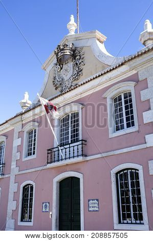 View of the Town Hall building a former palace stable and coach house in Oeiras Portugal