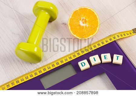 Digital Bathroom Scale With Tape Measure, Orange And Dumbbells, Slimming Concept