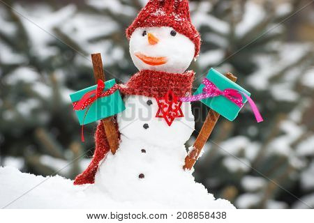 Decorated Snowman With Gift For Christmas Or Valentine On Background Of Coniferous Tree