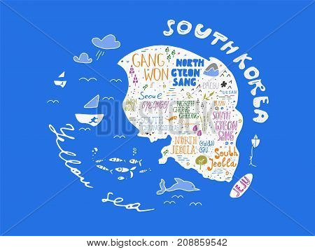 Hand drawn country map of Korea vector illustration design. Art background with names of South Korean regions in unique freehand lettering style