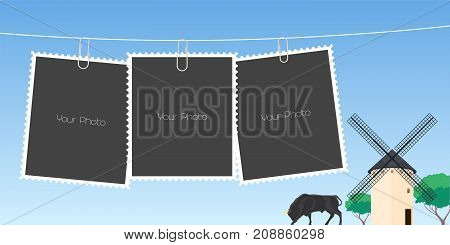 Collage of photo frames vector illustration. Design element of Spanish windmill and bull and templates for photo insertion