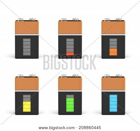 3d rendering of six PP3 type batteries with charge indicators in different stages of energy levels. Maximum charge. Depleted batteries. New and old portable power.