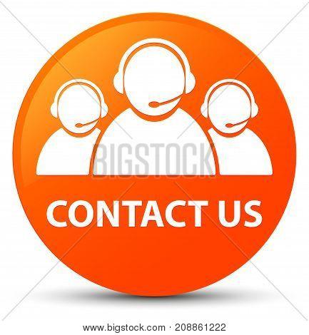 Contact Us (customer Care Team Icon) Orange Round Button