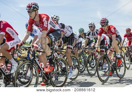 Mailleroncourt-Saint-Pancras France - July 5 2017: Michael Matthews of Team Subweb and Jurgen Roelandts of Lotto-Soudal Team riding in the peloton on a road to La Planche des Belle Filles during the stage 5 of Tour de France 2017.