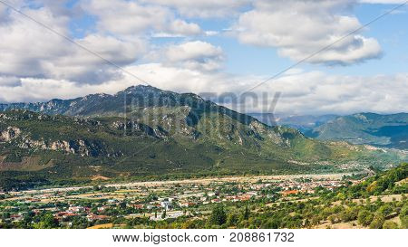 Kalabaka Town And Mountain View In Greece