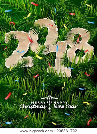 New Year 2018 of crumpled paper between pine twigs. Paper year numbers is strewn with confetti on christmas tree. Vector image for new years day christmas winter holiday