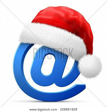 Email symbol in red Santa Claus hat. Christmas hat is put on mail sign. Best vector illustration for christmas internet new years day email decoration winter holiday