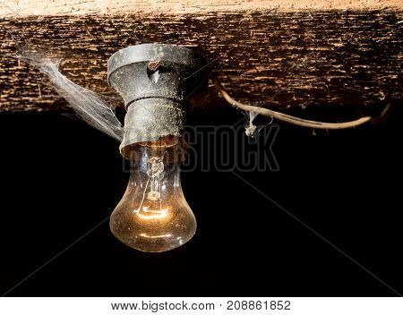 old lamp burning on a wooden ceiling