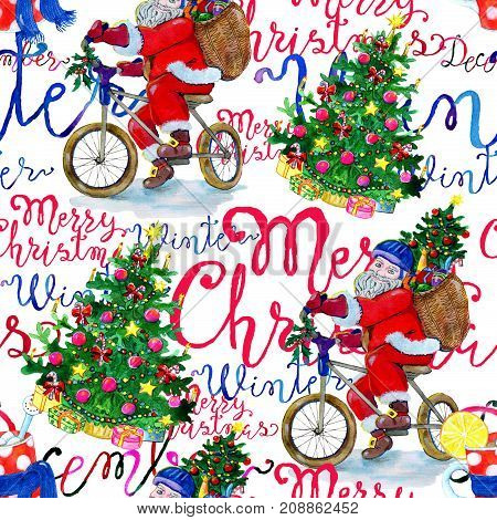 Christmas pattern with Santa on bike and lettering on white background. New Year and Christmas holiday vintage pattern, watercolor and graphic hand drawn illustration with lettering