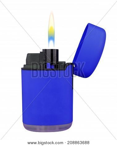 Plastic Gas Lighter With Flame - Blue