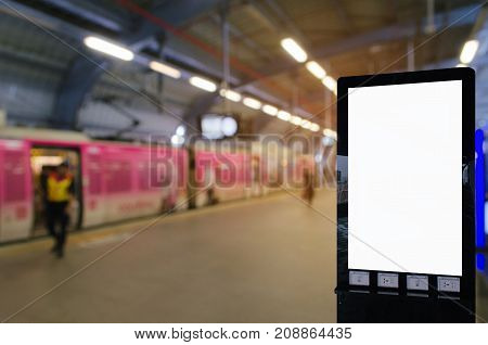 mock up blank advertising billboard with copy space for your text message or media and content at subway or sky train station commercial marketing and advertising concept