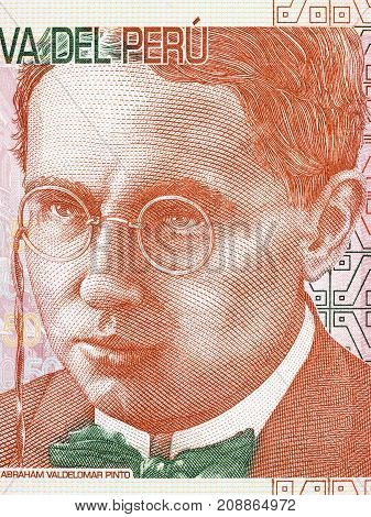 Abraham Valdelomar portrait from Peruvian money - Soles poster