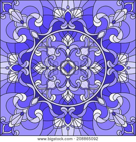 Illustration in stained glass style with abstract swirls and leaves on a light backgroundsquare image gamma blue