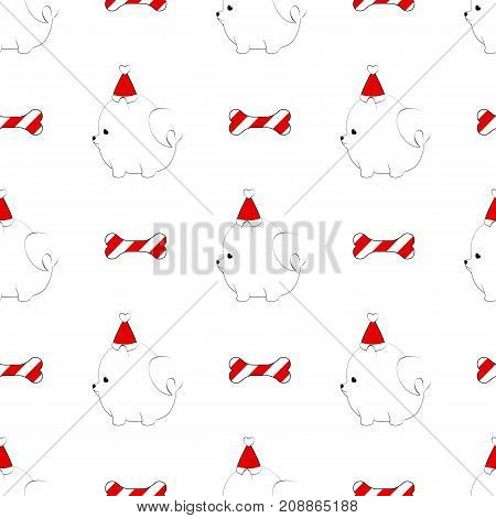 Cute pomeranian dog seamless pattern. Christmas New Year design pattern with puppy in party hat and dog bone treat.