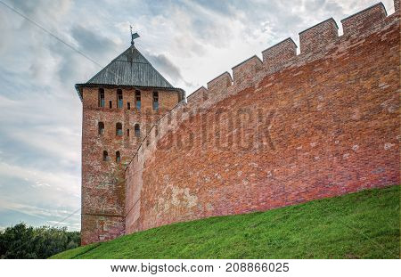 Ancient brick fortress wall and watch tower of the Novgorod Kremlin Russia Was founded in 1044