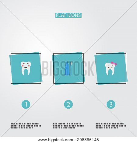 Flat Icons Toothbrush, Children Dentist, Enamel And Other Vector Elements