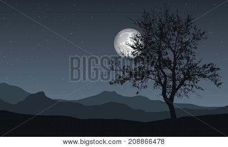 Vector illustration of a panoramic night mountain landscape with tree under the sky with moon and stars with space for text