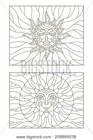 Set contour illustrations of stained glass sun with face dark outline on a white background isolate