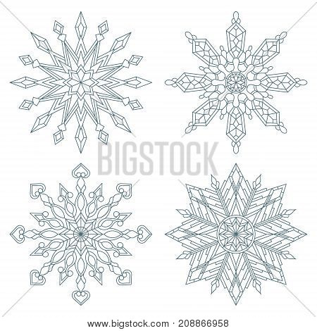 Set contour snowflakes stained glass style black contour on white background isolated